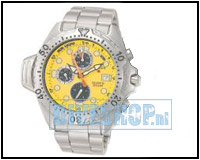 Aqualand Chrono Geel met metalen band AY5000-13YM